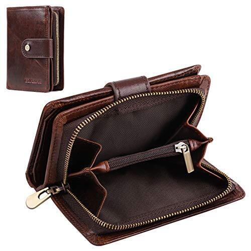 Boneruy 財布 サイフ メンズ 牛革 二つ折り 本革 小銭入れ カード13枚収納 大容量 日本製ラウンドファスナー ビジネス ギフト (ブラウン)