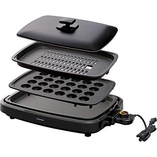 アイリスオーヤマ 煙が出にくい ホットプレート たこ焼き 焼肉 平面 プレート 3枚 網焼き 蓋付き ブラック APA-137-B