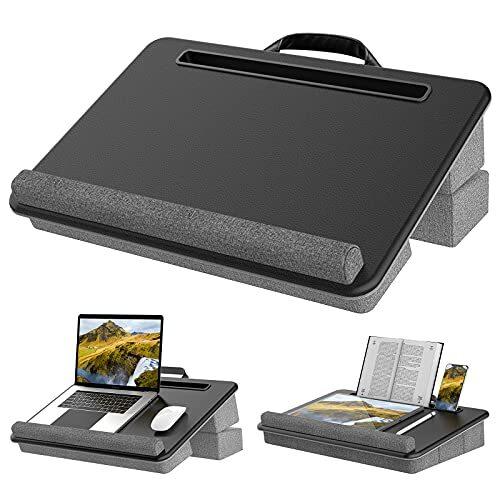 サンワダイレクト ひざ上テーブル ノートPC/タブレット用 15.6型対応 軽量 580g クッション付き 木目調 200-HUS006