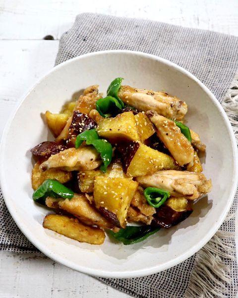鶏肉、手羽中、ピーマン、サツマイモ、照り、煮物。