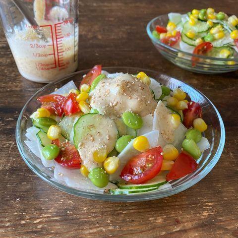 食卓を彩る大根と枝豆のカラフルサラダレシピ